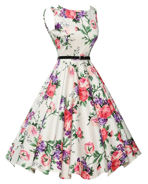 7d5faf6ec046b US $12.14 31% OFF|2017 Women Vintage 50s 60s Rockabilly Office Dresses  Pinup Floral Print Retro Audrey Hepburn Dress for Housewife Vestidos New-in  ...