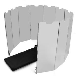 Image 4 - Acampamento 10 placas dobrar fogão a gás fogão de acampamento escudo vento tela dobrável ao ar livre titânio piquenique ferramentas viagem acampamento