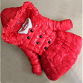 New 2016 Girls Wadded Jacket Thicken Warm Children Lace Outerwear Hooded Baby Winter Coat Cotton-padded Clothing