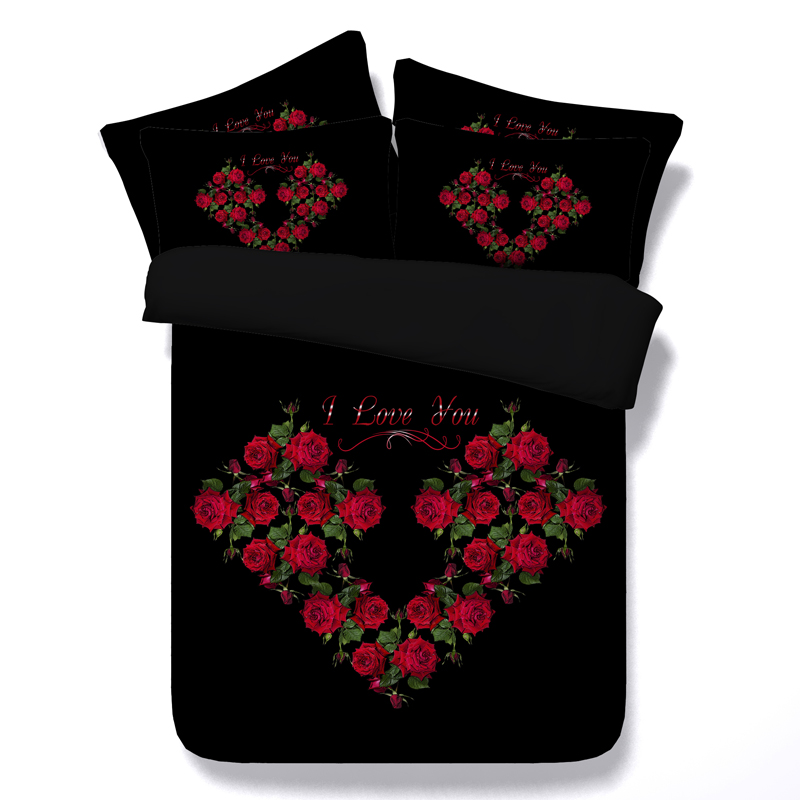 small red rose bedding set 3d printed duvet cover sheets