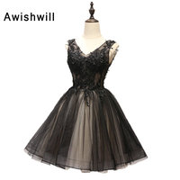 2019 Cocktail Dresses V neck Sleeveless Appliques Lace up Back Short Mini Sexy Homecoming Dresses Special Occasion