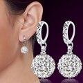 Moda 925 Plata de Ley Pendientes de Las Mujeres Oído de La Joyería de Lujo CZ Diamond Pendientes de Cristal Pendientes de Gota Rhinestone de la Bola Colgante