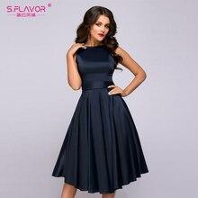 S. טעם בציר סגנון נשים Midi שמלת אופנה שרוולים אלגנטי אונליין Vestidos עם חגורת מוצק נשים מקרית אביב שמלות