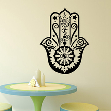 Art Home Decor Hamsa Hand Wall Decal Vinyl Fatima Yoga Vibes 3D Sticker Fish Eye Decals Indian Buddha Lotus Pattern Mural