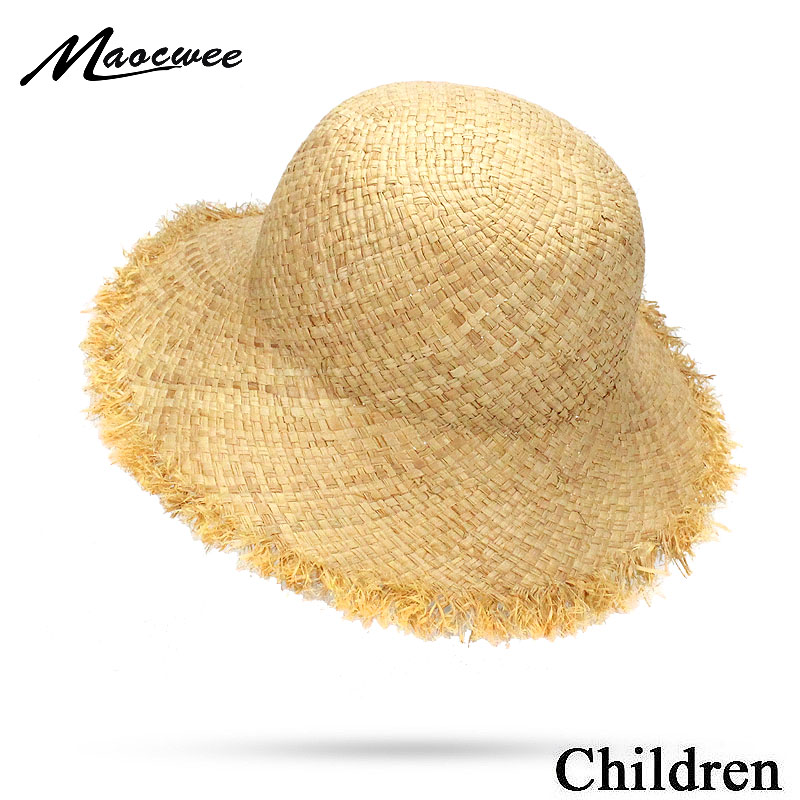 2018 Cute Child Girls Boy Raffia Straw Sun Hat Kids Large Brim Beach Summer Children Boater Beach Dome Top Fedora Hat 50CM