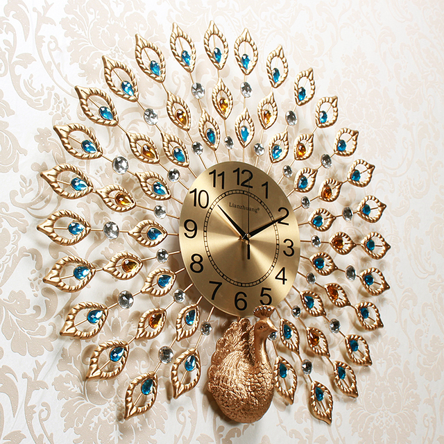 Creative Sculpture Premium Peacock Art Copper Wall Needle Clock Metal Dial Plate Digital Diamond Gold Clock Furniture Decorative