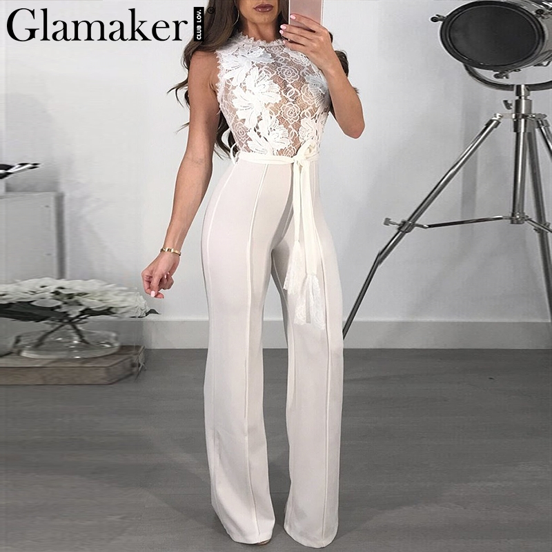 Glamaker Lace red sash sexy   jumpsuit   Long sleeveless transparent summer   jumpsuit   women overalls Party club   jumpsuits   rompers