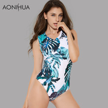 AONIHUA 2018 Summer Leaf print swimsuit for Women Push up Swimwear female Sleeveless One Piece bather swimming Suit 2168