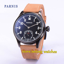 44mm Parnis Pvd Case negro dial Azul luminoso mano sinuoso 6498 hombres Reloj de Pulsera