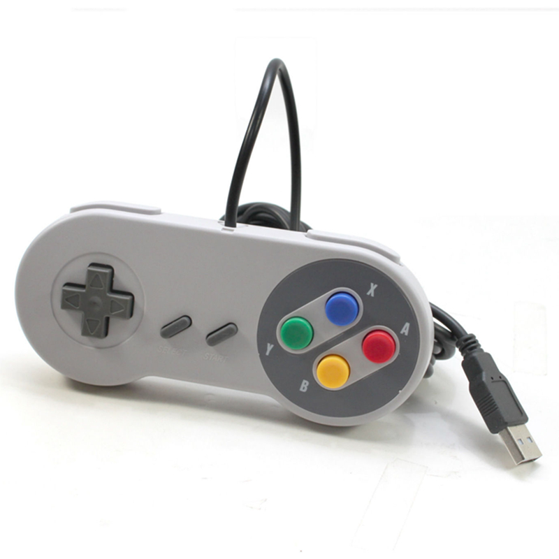 2PCS 1 lot Retro Wired Super for Nintendo SNES USB Controller Gaming Joypad Joystick for PC Window 7/8/10 Gamepad For Mac