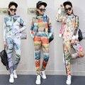 3 шт./компл. костюм для женщин женские костюмы женские костюмы 2 шт. набор женщин из двух частей набор печати цветы студенты наборы