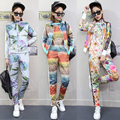 3 pcs / set tracksuit for women women's suits women's tracksuits 2 piece set women two piece set print flowers students sets