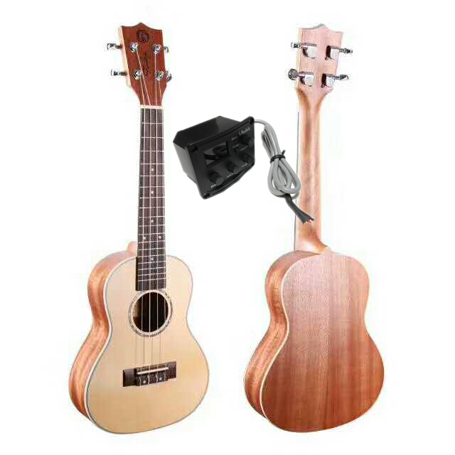 Finlay 24 Concert Ukelele Instrument With Solid Spruce Top/Mahogany Body,Electric Acoustic ukelele With 2 Band LCD Pickup