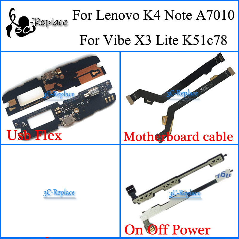 For Lenovo K4 note A7010 / For Lenovo Vibe X3 Lite K51c78 Motherboard cable USB Charger Charging On/Off Power volume Flex Cable storage cable