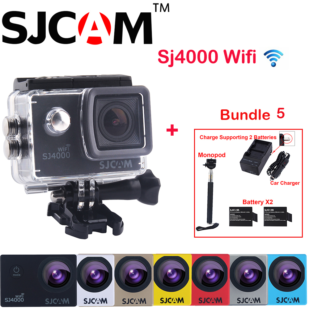 Original SJCAM SJ4000 WiFi 2'' Screen 1080P HD 30M Waterproof Sport Action Camera +2 Battery+Dual Wall+Car Charger +Seflie Stick