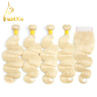 HairUGo Hair Human Brazilian Straight Bundles With Closure Hair Extension Blonde 3 Bundles Human Hair With Closure #613 Color