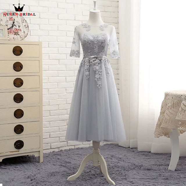 QUEEN BRIDAL A-line Tea Length A-line Half Sleeve Tulle Lace Formal Evening Dresses Short Party Dress Women Gown Elegant DR02M