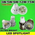 1.5 W 3 W 5 W 9 W 12 W 15 W MR16 LED holofotes lâmpada G5.3 lâmpada LED downlight 110-240 220 V branco Quente branco Frio Atacado freeshipping