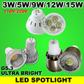 1.5W 3W 5W 9W 12W 15W MR16 LED spotlights lamp G5.3 LED bulb downlight 110-240 220V Warm white Cold white Wholesale freeshipping