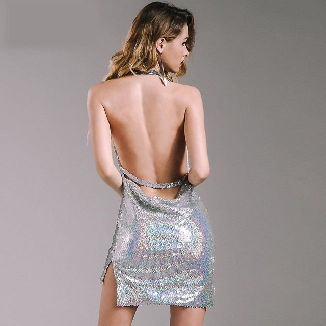 Kendall Jenner 21st Birthday Party Dress Sequined Women Hollow Out Deep V Neck Backless Metal