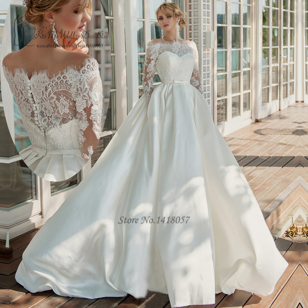 Civil long sleeve lace lace wedding dresses winter for Wedding dresses in turkey