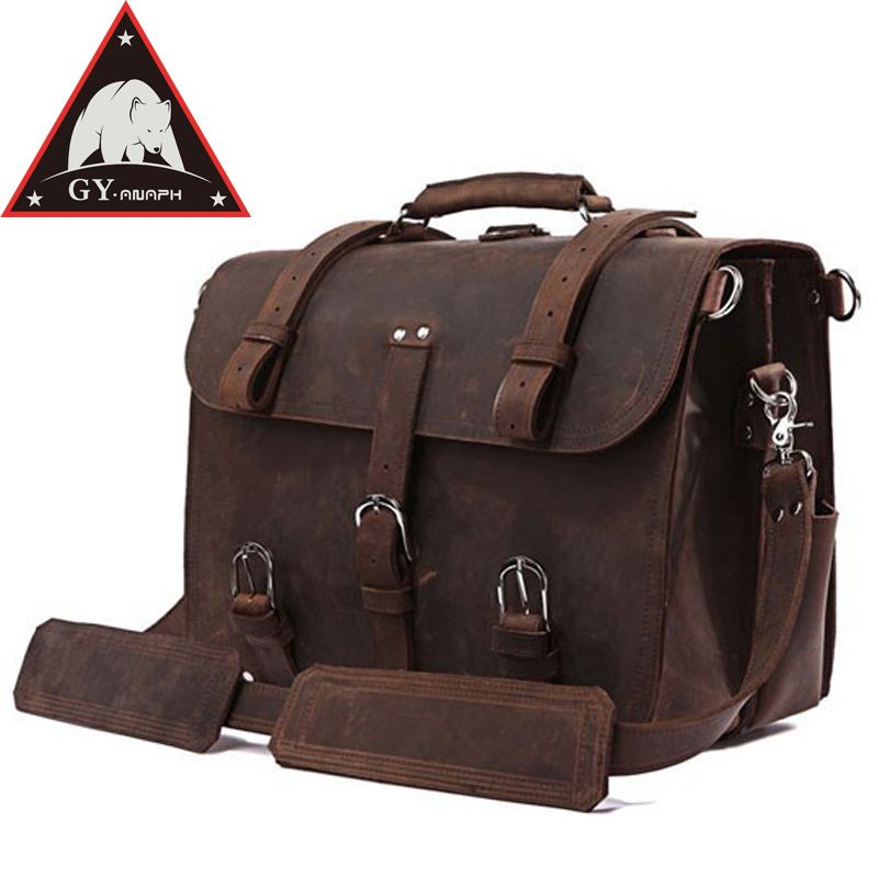 ANAPH Men's Top Quality Full Grain Leather Briefcase / Shoulder Bag / Poste Messenger Bag In Saddle / Satchels Fit 17'' Laptop sa212 saddle bag motorcycle side bag helmet bag free shippingkorea japan e ems