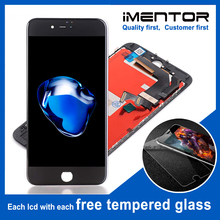 10 adet promosyon TIANMA LCD iphone 7 için ücretsiz kargo lcd ekran dokunmatik ekran ve değiştirme ücretsiz temperli cam 10 adet