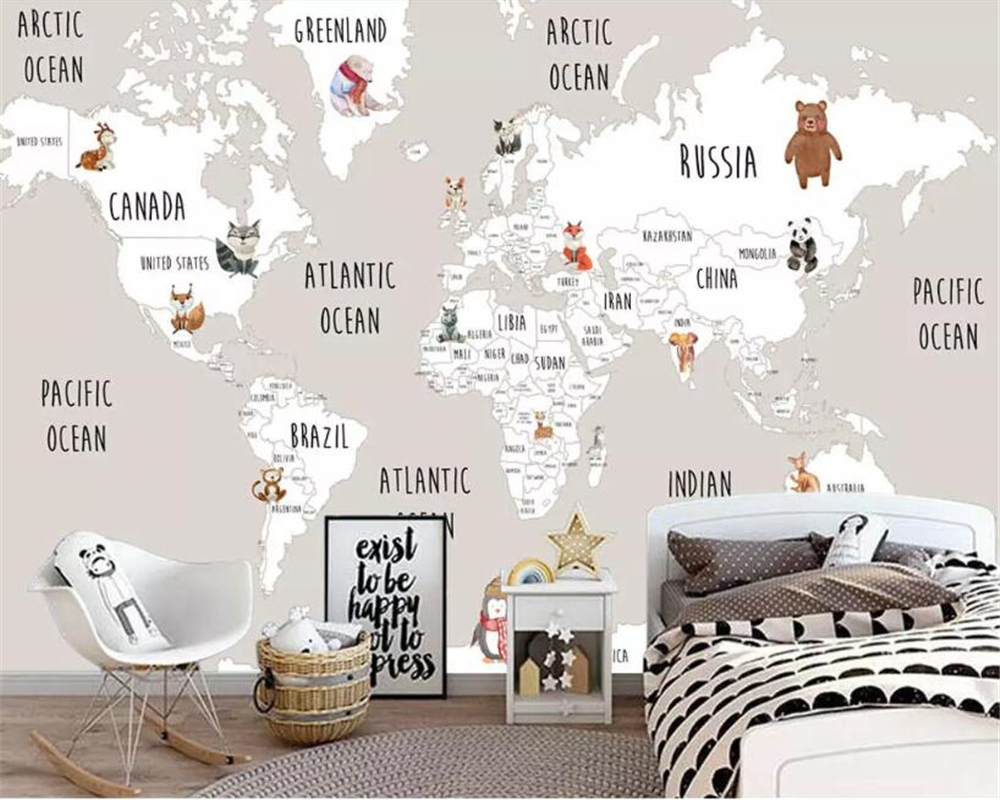 Beibehang Custom Mural Kids Room Wall 3d Photo Wallpaper Hand Painted animal World Map Picture Background 3d wallpaper behang image