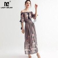 100% Natural Silk Women's Runway Dresses Slash Neckline Striped Floral Printed Fashion Casual Summer Dresses