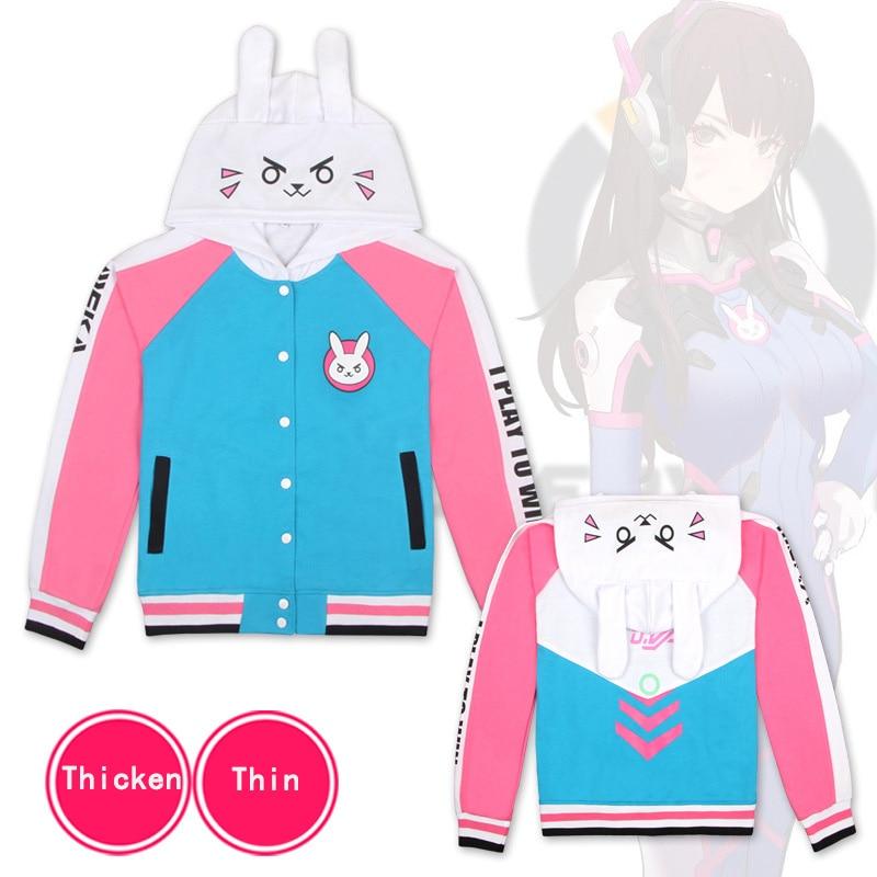 Game OW Rabbit D.VA DVA Kawaii Lolita Cosplay Cotton Fleece Hoodie Song Hana impressions anime sweater hooded zipper men women