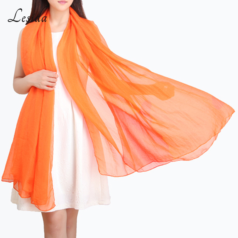 2018 Fashion Solid Färg Ladies Chiffon Scarves Orange Beach Sjalar och Wraps Pareo Large Women Long Scarves 170 * 70cm Partihandel