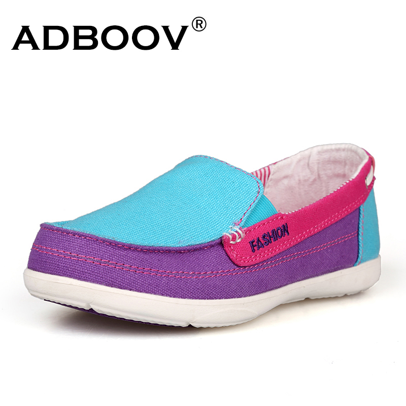 ADBOOV Slip On Canvas Loafers Women 2018 Spring Shoes Woman Comfortable Insole Flat Shoes Zapatos Mujer Tenis Feminino 2017 spring genuine leather sheepskin shoes womens black white comfortable woman flat boat shoes buckle strap zapatos mujer 002k
