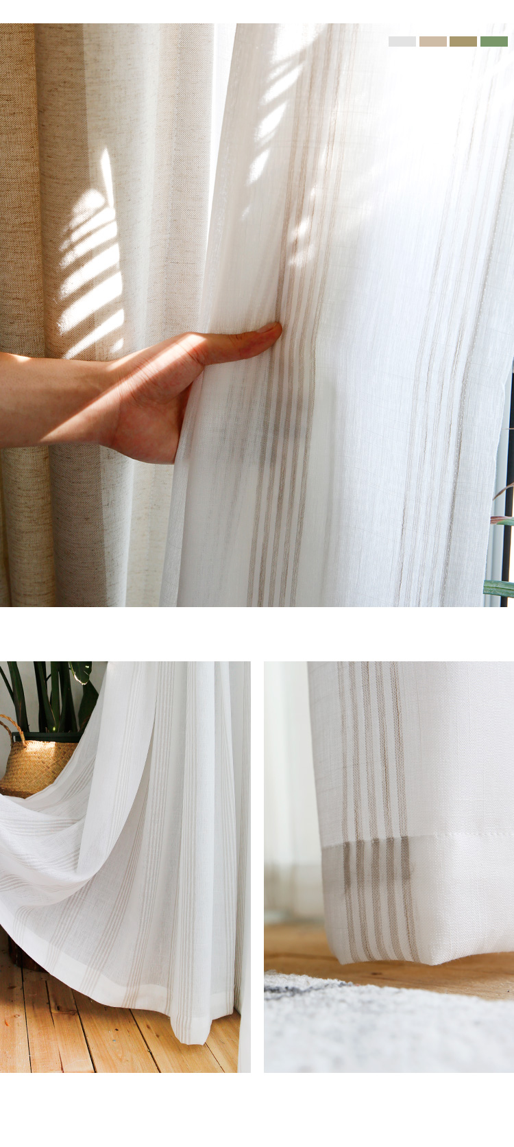 _09 White Tulle Curtains For Livingroom Striped Voile