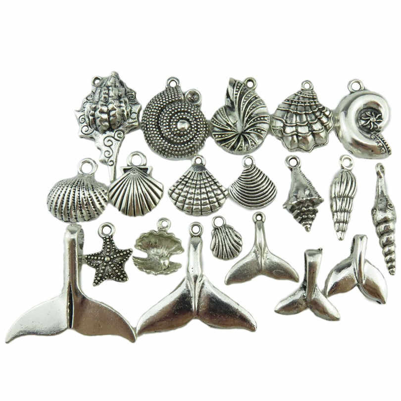 GLOWCAT A9Q904 Mix 20 teile/satz Seestern Conch Shell Whale Tail Antique Silver Sea Tier Anhänger