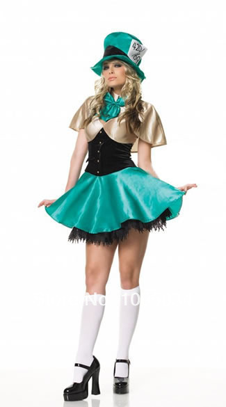 Free Shipping womens sexy satin short mad hatter dress costume uk ... cbc0a4162