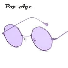 Pop Edad Nuevo Polígono Océano Púrpura de La Vendimia gafas de Sol Mujeres de Los Hombres pequeño Escudo Marco de Metal gafas de Sol Gafas de sol 400UV