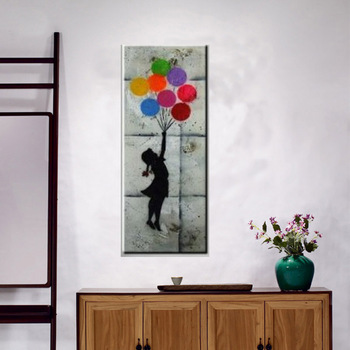 little girl hold balloons oil painting for living room decoration modern art paintings for home decor handmade picture on canvas