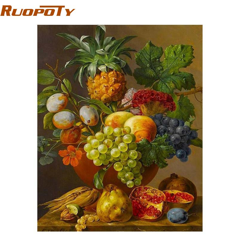 RUOPOTY Frame Fruits Basket Painting DIY Painting By Numbers Kits Acrylic Picture Home Wall Art Decor Unique Gift Home Decor