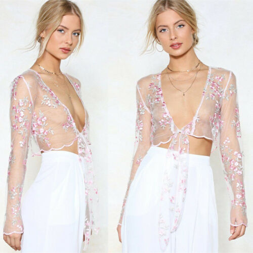 HIRIGIN Womens Sweet Floral Mesh Sheer Embroidered Floral See-through Crop Tops Shirt Blouse