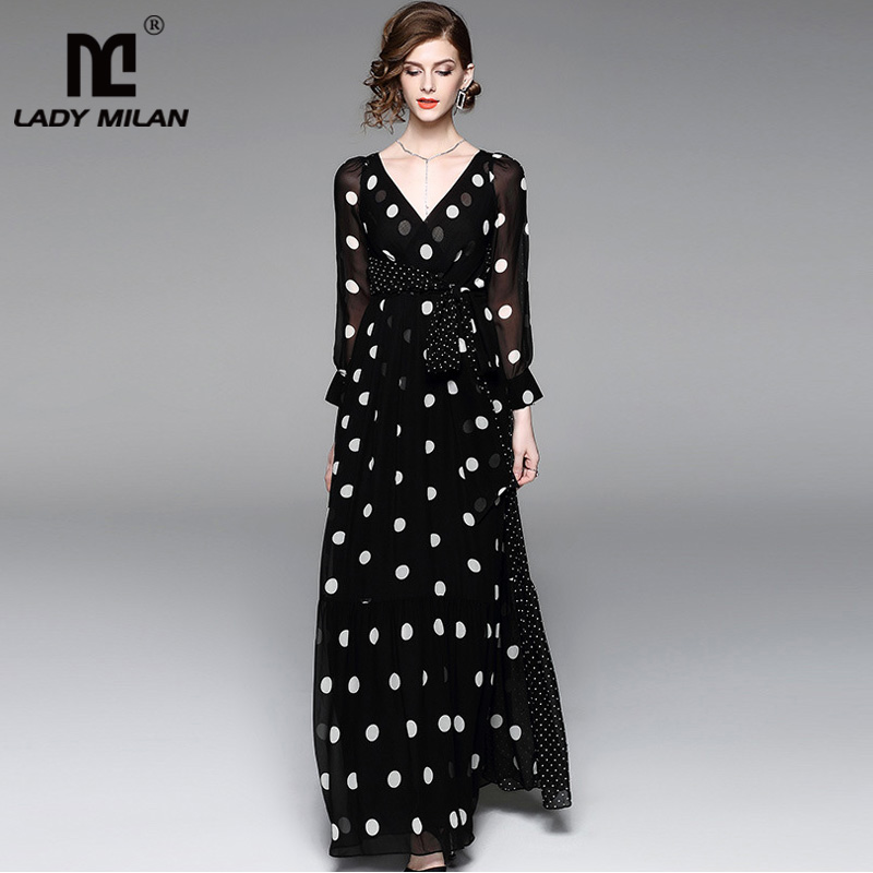 New Arrival 2018 Womens Sexy V Neck Long Sleeves Polka Dots Printed A Line Sash Bow Belt High Street Fashion Long Dresses