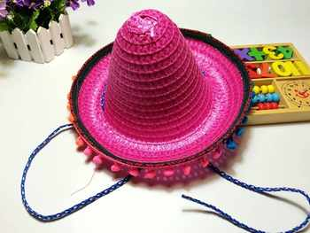 Mexican Sombrero For Children Kids Show Straw Hats Dance Props Pompom Party Hat 6Pcs/lot Free Shipping