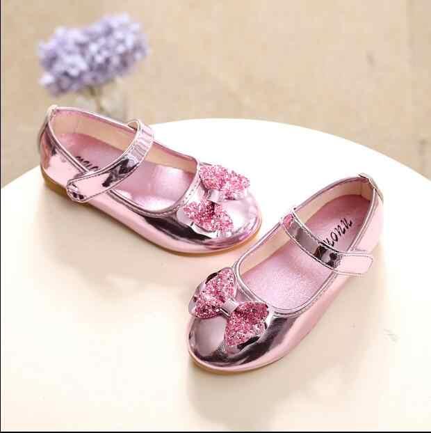 الأطفال الأحذية الجلدية 2018 الربيع والخريف جديد الفتيات الأميرة الأحذية القوس الطلاب النسخة الكورية من الأحذية واحدة
