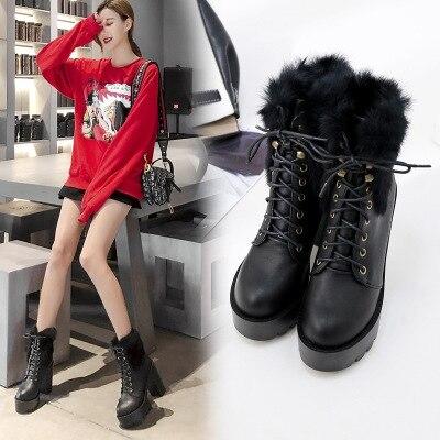 Plataforma América De Negro marfil 2018 Botas La Y Moda Mujer Zapatos Áspero Mujeres Europa Piel Tacón Talón Alto Nuevo Correa Las EwOSq