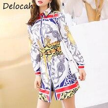 Delocah Autumn Women New Dress Runway Fashion Designer Gorgeous Sashes Vintage Printed Mini Slim Lady A-Line Dresses