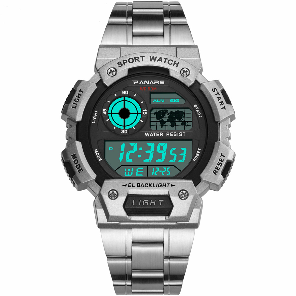 PANARS 2019 New Stainless Steel Military Sport Watches Electronic Men Watches Luxury Male Clock Waterproof LED Digital Watch(China)