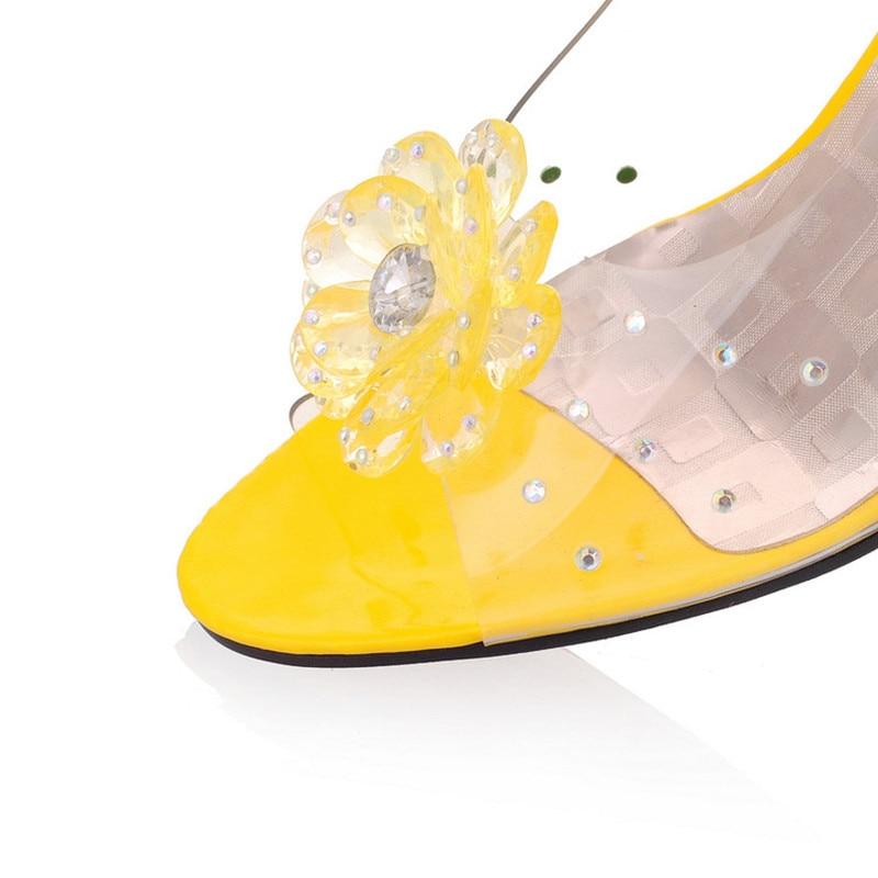 Floral jaune Transparent 2018 D'été Dames rouge Femmes Plate À Femme De Cristal Pour Noir Bout Mode forme bleu Coins Sandales Ouvert blanc Chaussures BXtzyxq8