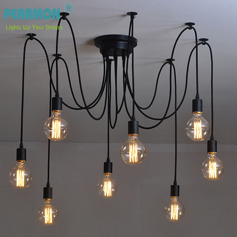 PEARMON Vintage Edison Bulb Multiple Adjustable DIY Ceiling Spider Light Pendent Lighting Chic Industrial Loft Chandelier Lamp 10 lights creative fairy vintage edison lamp shade multiple adjustable diy ceiling spider pendent lighting chandelier 10 ligh