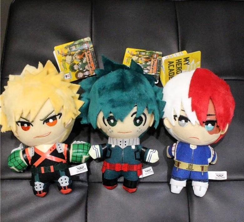 Anime My Hero Academia Izuku Midoriya Katsuki Bakugou Shouto Todoroki Plush Pendant Toy 15CM Soft Stuffed Dolls Gift
