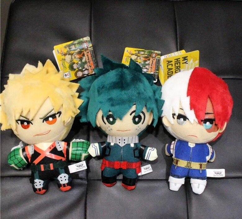 Anime mi héroe Academia Izuku Midoriya Katsuki Bakugou Shouto Todoroki de peluche de juguete 15 CM de peluche suave muñecas regalo