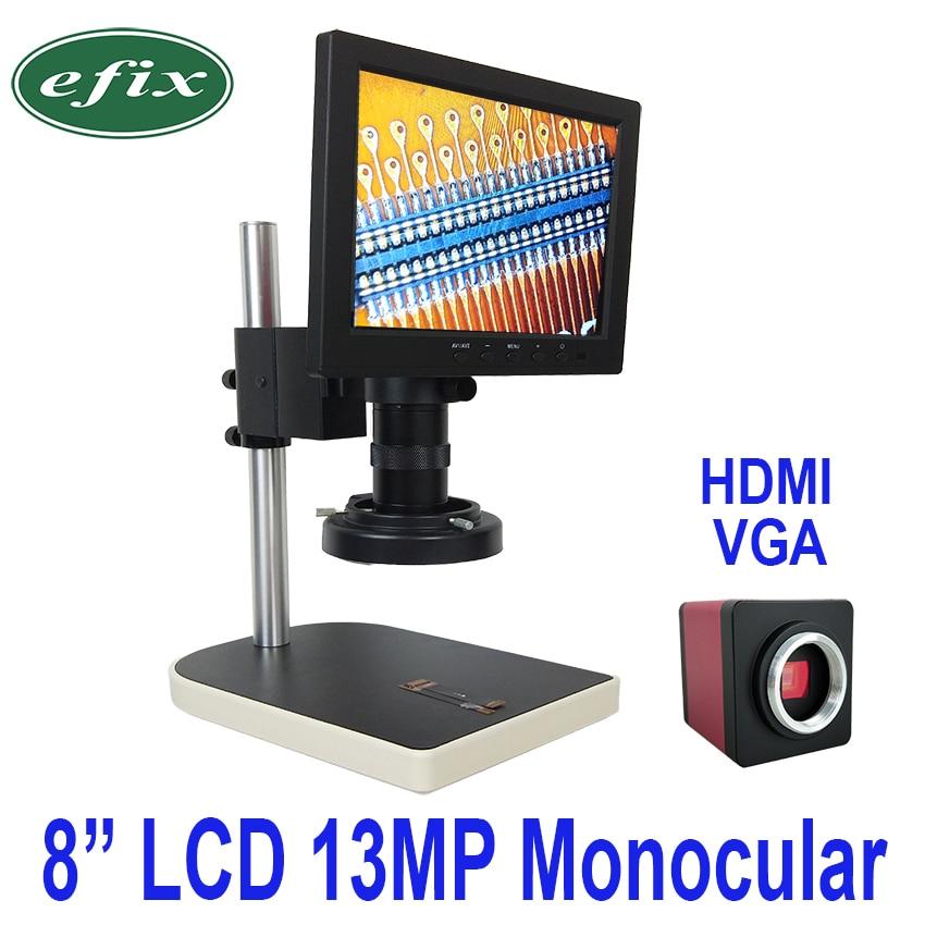 efix 13MP HDMI VGA HD Digital Camera Microscope set 56 LED Ring Light C mount lens